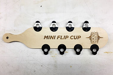 Booze Traveler Custom Wooden Mini Flip Cup game. Made in Minnesota by Scienz.